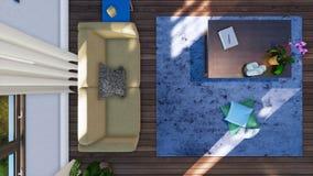 Kanapa i stół w żywym izbowym wewnętrznym odgórnym widoku 3D ilustracji