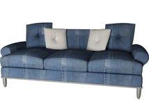 kanapa odosobniony cajgowy nowożytny biel ilustracja wektor