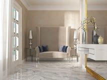 Kanapa, wysoki tylny art deco z dwa bocznymi lampami i stołami, Obraz Stock