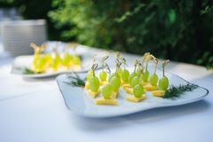 Kanape用葡萄和乳酪 免版税库存图片