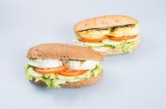 kanapka lub smakowita jajeczna kanapka na tle Obrazy Stock