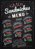 Kanapka menu kredy kolor Obrazy Royalty Free