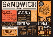 Kanapka menu restauracja, karmowy szablon Obrazy Stock