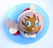 Kanapka w postaci dziewczyny ` s głowy w Santa ` s nakrętce Obrazy Royalty Free
