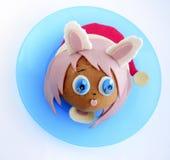 Kanapka w postaci dziewczyny ` s głowy w Santa ` s nakrętce Fotografia Stock
