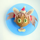 Kanapka w postaci dziewczyny ` s głowy w Santa ` s nakrętce Obrazy Stock