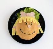 Kanapka w postaci dziewczyny ` s głowy Zdjęcie Royalty Free
