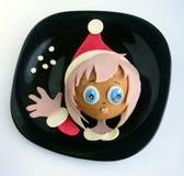 Kanapka w postaci pirata ` s heaSandwich w postaci dziewczyny ` s głowy w Santa ` s nakrętce Zdjęcia Royalty Free