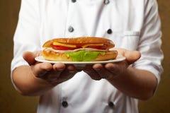 Kanapka w ręki Fotografia Stock