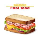 Kanapka wektor realistyczny Fasta food 3d szczegółowe ilustracje ilustracji