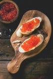 Kanapka z czerwonym kawiorem Obraz Stock