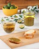 Kanapka z dżemem feijoa i herbata Fotografia Stock