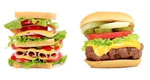Kanapki i hamburgeru zamknięty up. Fotografia Royalty Free