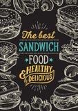 Kanapki ilustracja - bagel, przek?ska, hamburger dla restauracji zdjęcia stock