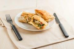 Kanapki w Armeńskim pita chlebie robić jajka, ser, pomidor i pietruszka, zdjęcia stock