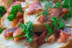 Kanapki z czerwieni ryba Zdjęcia Royalty Free