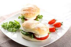 Kanapki z mozzarellą, pomidorem i sałatą Obraz Royalty Free