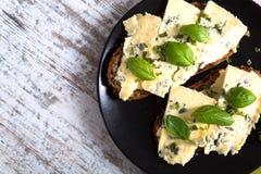 Kanapki z Roquefort serem Zdjęcie Royalty Free