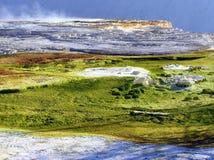 Kanariefågelvår och terrass i Yellowstone NP arkivbilder