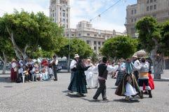 Kanarischer traditioneller Tanz, Teneriffa, Spanien Lizenzfreie Stockfotos