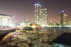 kanarowy docklands London noc nabrzeże obrazy royalty free