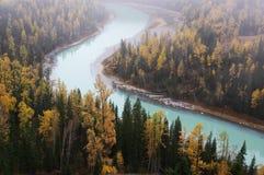 kanas风景点的新月形河 免版税库存图片