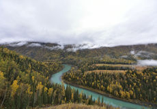 Kanas crescent bay scenery of autumn! Royalty Free Stock Photography