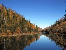 Kanas Lake in Autumn. `Kanas` is a Mongolian word meaning `lake in the canyon`. The main features of this Park are the `high mountain glacier lake` Kanas Lake Stock Images