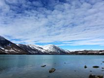Kanas Lake in Winter. `Kanas` is a Mongolian word meaning `lake in the canyon`. The main features of this Park are the `high mountain glacier lake` Kanas Lake Stock Photography
