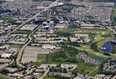 Kanata Ontario aerial. Aerial view of Kanata, Ontario, viewing the Marshes Golf Course and surrounding area stock photography