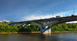 Kanavinsky bridge through Oka River Royalty Free Stock Images