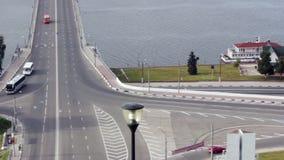 Kanavinsky Bridge - the oldest bridge in city Nizhny Novgorod. Nizhny Novgorod, Russia - Sep 24, 2017: View of Kanavinsky bridge, oldest bridge in city stock video footage