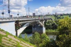Kanavinsky bridge on river Oka, Nizhny Novgorod Royalty Free Stock Images