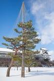Kanazawa Castle. Park with snow in winter season stock image