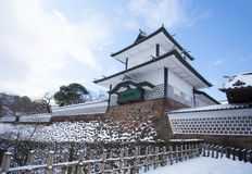 Kanazawa Castle. Park with snow in winter season stock photos