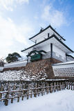 Kanazawa Castle. Park with snow in winter season stock images