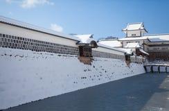 Kanazawa Castle. Park with snow in winter season royalty free stock photo