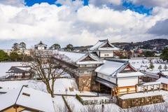 Kanazawa, Japan at Kanazawa Castle. In the winter stock photos