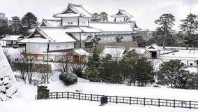 Kanazawa kasztel w zimie Fotografia Royalty Free