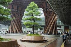 Kanazawa train station in rain.