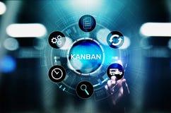 Kanban工作流程进程管理在虚屏上的系统概念 库存照片