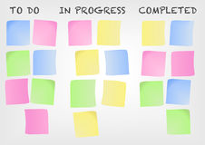 Kanban board as an example for a modern project management methodology. Vector illustration with post-it notes Royalty Free Stock Images