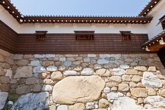 Kanbe-ishi stone in the wall of Imabari Castle, Japan Stock Images