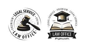 Kancelaria prawna, adwokat, prawnika logo lub etykietka, Sprawiedliwość symbol również zwrócić corel ilustracji wektora ilustracja wektor