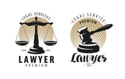 Kancelaria prawna, adwokat, prawnika logo lub etykietka, Waży sprawiedliwość, młoteczka symbol również zwrócić corel ilustracji w royalty ilustracja