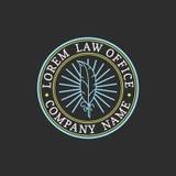 Kancelaria prawna logo Wektorowy rocznika adwokat, adwokat etykietka, jurydyczna firmowa odznaka Akt, zasada, legalny ikona proje ilustracji