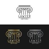 Kancelaria prawna logowie ustawiający Wektorowy rocznika adwokat, adwokat etykietki, jurydyczne firmowe odznaki Akt, zasada, lega ilustracja wektor