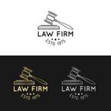 Kancelaria prawna logowie ustawiający z młoteczek ilustracją Wektorowy rocznika adwokat, adwokat etykietki, jurydyczne firmowe od ilustracja wektor