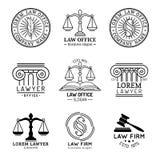 Kancelaria prawna logowie ustawiający z ważą sprawiedliwość, młoteczka etc ilustracje, Wektorowy rocznika adwokat, adwokat przyle ilustracja wektor