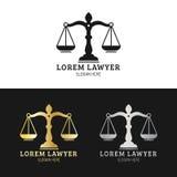 Kancelaria prawna logowie ustawiający z ważą sprawiedliwości ilustracja Wektorowy rocznika adwokat, adwokat etykietki, jurydyczne ilustracja wektor